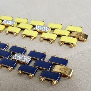 LOT OF 2 Juicy Couture Enamel & Pave Link Bracelet